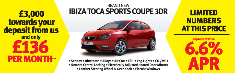 IBIZA TOCA £3,000 towards your deposit from us+ and only £136 per month x 48