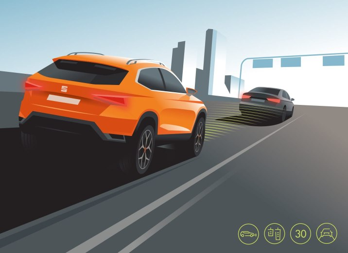 New SEAT Ateca predictive adaptive cruise control demonstration