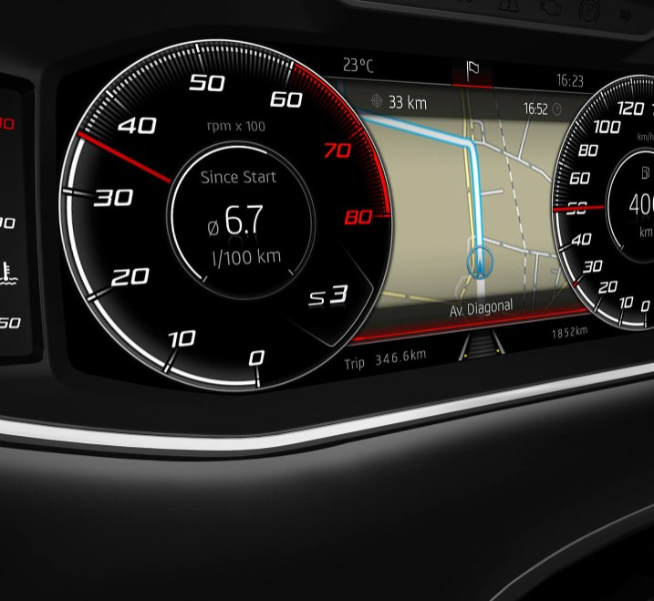 SEAT Ateca - Digital cockpit showing navigation route