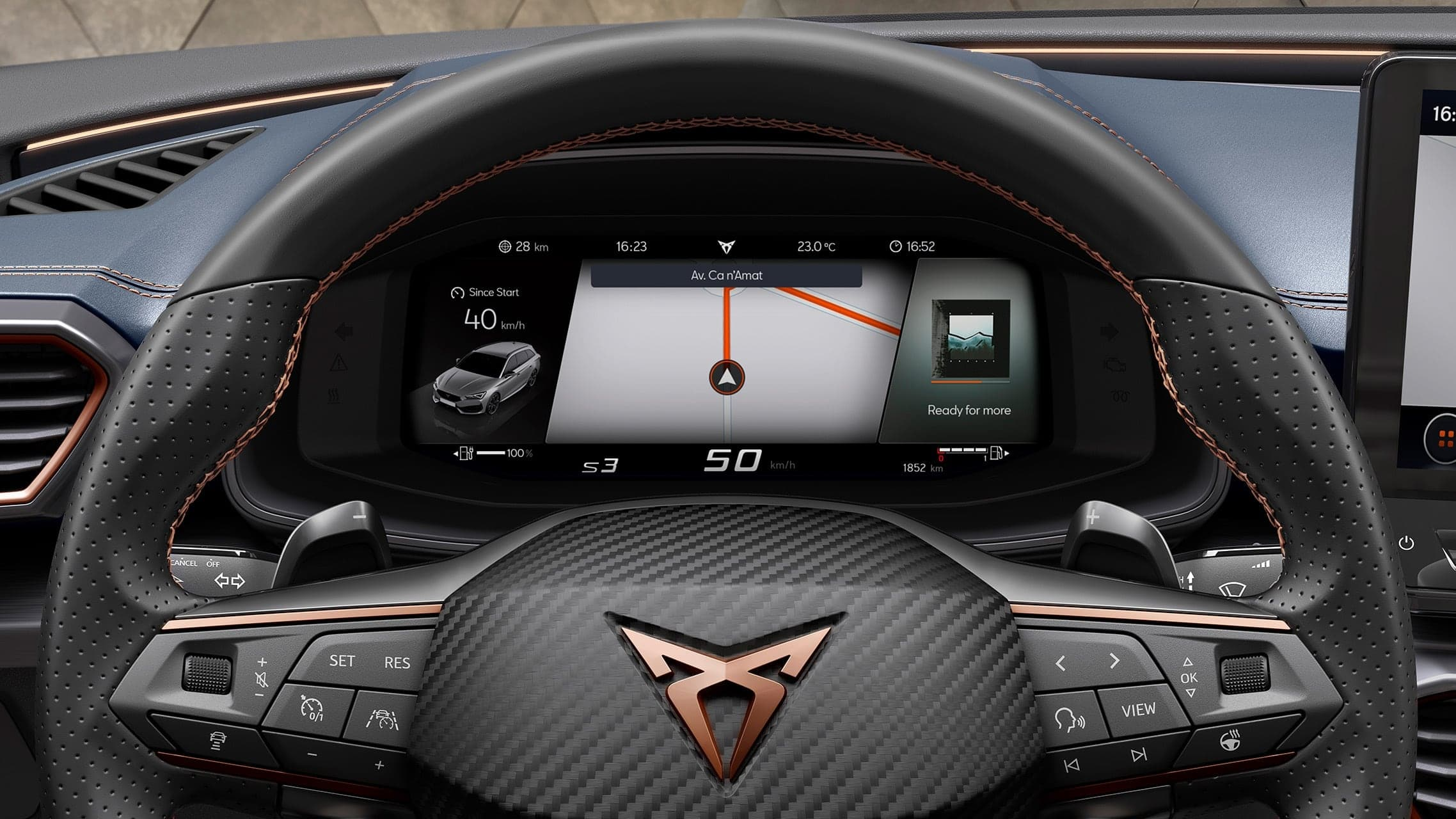 new CUPRA Leon Estate e-HYBRID Family Sports Car interior view of digital cockpit with voice command infotainment system